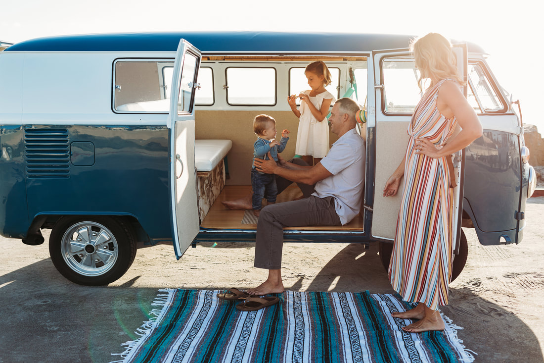 Boho family VW bus beach shoot | San Diego family photographer | www.brittneyvierphotography.com